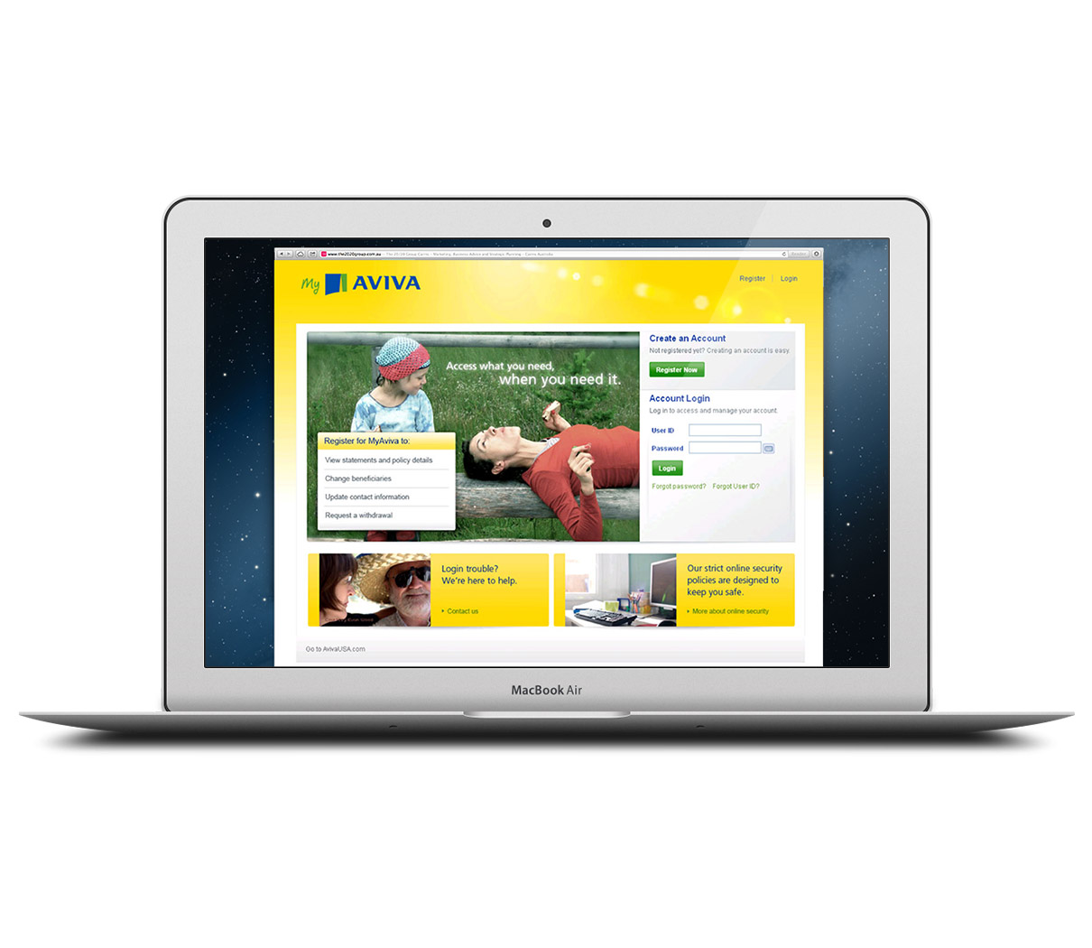 Laptop showing the Aviva Customer Portal