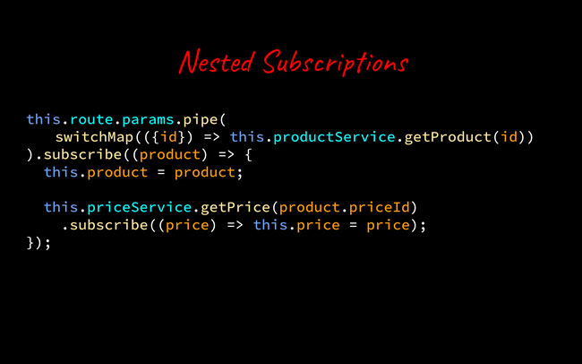 nested subscription code example.